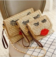 baling straw - 2016 Knitted Straw bag bales handbag ladies handmade woven straw message bag shoulder handbag woman beach bag Rattan Bag