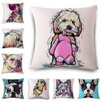 Wholesale Square Cotton Linen Colourfu Bull Terrier Painted Bulldog dachshund dog Pet Pug Cushion Cover For Home Sofa Pillow Case cm Cojines