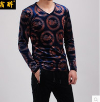Wholesale 2016 autumn and winter Korean Slim men s velvet hollow embossed men s V neck T shirt