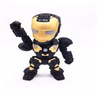 arm audio - C Iron Man Mini Bluetooth Speaker with LED Flash Light Deformed Arm Figure Robot Portable Wireless Speakers TF FM U Disk MP3