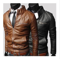 Wholesale Hot Sale Cool Men Slim PU Leather Motorcycle Jacket Coat Cool Man Jacket Outwear Freeshipping