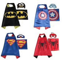 Wholesale Kids Costumes Children Super Hero Cape Kid Fancy Dress Costume Outfit New Double Suit Children Superman Cape Patch Superhero Cloak