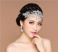 Wholesale 2016 Bling Silver Wedding Accessories Bridal Tiaras Hairgrips Crystal Rhinestone Headpieces Jewelrys Women Forehead Hair Crowns Headbands