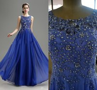 Wholesale 2015 New Arrival Prom Evening Dresses Royal Blue Vintage Charming Scoop Applique Beaded Floor Length A line Chiffon Bridesmaid Dresses