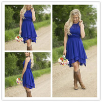western wear - Royal Blue Country Bridesmaid Dresses Short Modest Jewel Neck Cheap Western Beach Wedding Guest Wear Plus Size Knee Length Formal Gowns