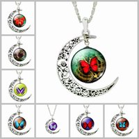 acrylic picture glass - Moon Necklace Galaxy Planet Glass Cabochon Picture Silver Half Statement Chain Choker Necklace for Women Jewelry Necklaces Pendants