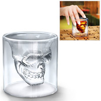 antique bar ware - Small Creative Fancy Clear Crystal Skull Transparent Head Vodka Beer Wine Cup Champagne Glass Cup Drinking Ware for Party Bar Merry Christma