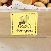 Wholesale 800 Yellow Rabbit quot for you quot Package Stickers Seals Decorate Label for Christmas Wedding Gift CH5041922