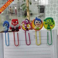 Wholesale New Styles Inside Out colorful cartoon bookmark school stationery office supply paper clips Metal Binder Clips Memo clips