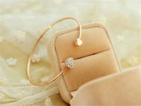 fashion bangles rhinestones - 2016 New Charm Bracelets Women Fashion Style Gold Rhinestone Love Heart Bangle Cuff Bracelet Jewelry heart shaped Love bracelet Double heart