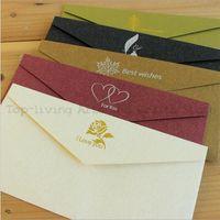 Wholesale Set Pearl Paper Envelopes For Invitations Wedding Invitation Envelope Set Kawaii Envelope De Casamento Gift Envelopes