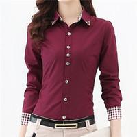 tunic tops - 2016 New Shirt Women Tops XL XL Plus Size Plaid Button Down Long Sleeve Formal Tunic Casual Blouse Top Blusas Feminina B48