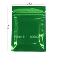 Wholesale New product x10cm x4in Double Sided mylar foil Green zip lock packing bag heat seal flat pouch