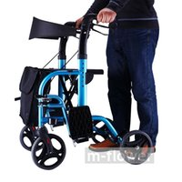 Wholesale With Bag Wheel With Seat With Back Folding Aluminum Alloy Multipurpose Mobility Aids Travel Shopping Cart Trolley Walker Walking Aid