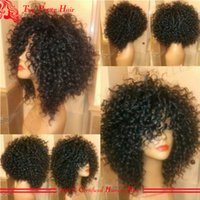afro american hairstyles - High Quality Virgin Human Hair Full Lace Wig Curly Brazilian Hair Glueless Lace Front African American Short Curly Wigs For Women