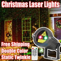 Wholesale Christmas Laser Lights Outdoor Star Projector Showers Home Decorations Double Color Static Twinkle With Remote Waterproof IP44