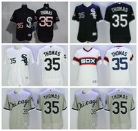 Wholesale Chicago White Sox Baseball Frank Thomas Jersey Flexbase Pullover Pinstripe White Grey Black With th World Series Patch