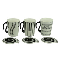 Wholesale Music Cup Mug Staff Notes Piano Keyboard Ceramic Cup Porcelain Mug Coffee Caneca with Cover Creative gift