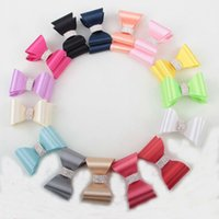 baby garment buttons - New coming inch satin Bows with rhinestone buttons hair Bows without clip for baby girls hair accessories garments