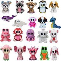 Unisex baby animal videos - 20 Design Ty Beanie Boos Plush Stuffed Toys inch Big Eyes Animals Soft Dolls for baby Birthday Gifts ty toys B