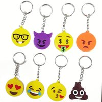 Wholesale Key Ring Hot Sport Soft PVC Key Ring Smile Metal Cartoon Emoji Keychains Rubber Cool keychains Fashion Novelty Gifts Mix Styles