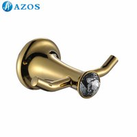 bath accessories nickel - AZOS Wall Mounted Bath Towel Hooks Nickel Brush Finish Golden Color Toilet Accessories Bathroom Shower Hardware Components GJQC3002A