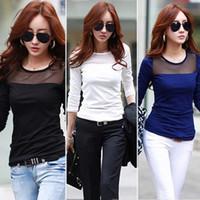 Wholesale Fashion Women Summer Long Sleeve Shirts T Shirt Women Tops Style Cotton Lace Mesh Patchwork T Shirt