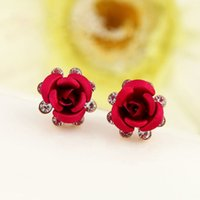 accent stud earrings - Fancy Flower Women Earings Jewelry Rigant Crystal Accented Rose Stud Earrings Valentine s Day Gift