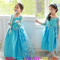 Wholesale 2016 New High Quality Girl Dresses Princess Children Clothing Anna Elsa Cosplay Costume Kid s Party Dress Baby Girls Clothes MC0172