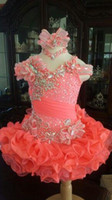 chic flower girl dresses - Crystal Bead Sequins Ruffles Little Girls Pageant Dresses Coral Organza Handmade Flower Glitz Flower Girl Dress Chic
