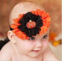 baby girl pumpkin - Halloween Kids Girls Chiffon Floral Headbands Baby Girls Princess Pumpkin Hairbands Children s Stretchy hair accessories
