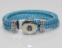 best bling - Fashion Women Noosa PU leather Bracelet Rhinestone Bling Snap Button Bracelet Fit mm Ginger Snaps Hot in Europe Best Selling Item A1805