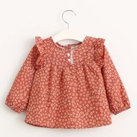 Wholesale Spring Blouse Flower - Girls Tops Blouses Fashion Long Sleeve T Shirts Child Shirt Girl Dress 2016 Flower Cotton Shirts Children Clothes Kids Clothing Ciao C28359