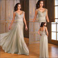 Wholesale 2016 New V neck Chiffon Mother Of The Bride Dresses Sheer Cap Sleeves Lace Applique Floor Length Evening Dresses J175001