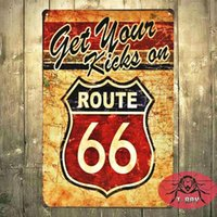 Wholesale Get Your kicks on Route Antique Motor Oil Vintage Rustic Metal Tin Sign for the Garage Man Cave D