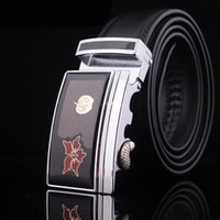 auto lock belt - New Fashion High Quality Men s Auto lock Steel Buckle Brand Designer Leather Belts Black Brown cm