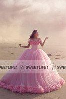 baby beach pictures - Off Shoulder Cheap High Quality Beach Quinceanera Dresses Baby Pink Ball Gown Custom Made Hand made Flowers Sweet Prom Gowns Hot
