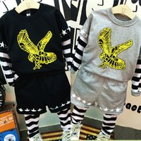 baby eagles clothes - 2 Color Baby Boys Faux Two Piece Clothing Suit Cartoon Eagle Sweater Striped Sleeve T Shirt Star Long Pants Leggings Trousers