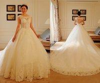 Wholesale Luxury Lace Sweetheart Wedding Dresses Sequin Sleeveless Open Back Long Wedding Gowns Court Train Ball Gown Vestido De Noiva