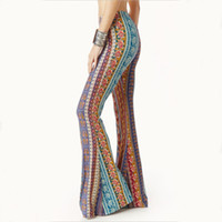 Wholesale 2016 women trousers Polyester Flared trousers printing Skinny Bootcut tight package hip retro rose printing large flares pants