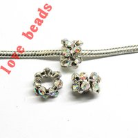 Wholesale Colors Silver Tone Full Crystal European Spacer Beads Fit DIY Bracelet Necklace w03519 w03535 jewelry making