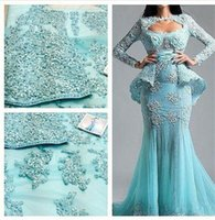 activities image - Elegant Blue Appliqued Evening Party Dresses With Jacket Long Sleeves Tulle Prom Dress Beaded Pleat Tulle Mermaid Activity Dress