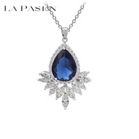 best simulated diamond - LA PASION brand Sparkling Teardrop Pendant Necklace Color Choices Best Crafted Simulated Diamonds Flower Necklaces For Women Jewelry