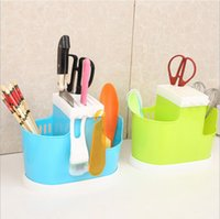 Wholesale candy color New Plastic Knife Block Knife Stand Kitchen Ceramic Knife Holder Multifunctional Eco friendly Knife Rack Kitchen Accessories
