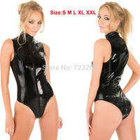 Wholesale New Sexy Valentine s Day Gift Women Really PVC Costume Front to Crotch Zipper Short Leather Catsuit Size S XXL
