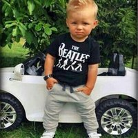 baby boy short suits - Hot Sale Baby Boy clothes black Short Sleeve T shirt Tops Pants set boy Outfit Clothing Set Suit with printed
