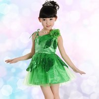 Wholesale Free ship children girls sequined green blue yellow tutu latin dance flowers dress luxury dance fairy stage performance dress