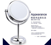 Wholesale 6 Inch Led Cosmetic Mirror with LightStainless Steel AA Battery Makeup Mirror with Light Table Stand Mirror