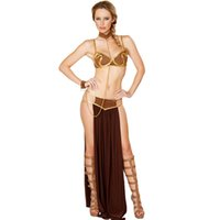 Wholesale Gold Bra and Neckchain Sexy New Carnival Star Wars Cosplay Sexy Princess Leia Slave Costume L15366