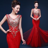 Wholesale Cheap Silk Patterned Dresses - Sexy Velvet Formal Evening Dresses Crystals Beaded Collar Mermaid Floor Lengh Cheap Long Sheer Prom Party Gowns Evening Wear Dress Zip Back